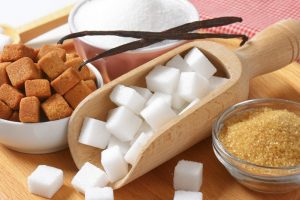 Still life of various types of sugar